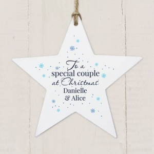 Personalised Wooden Star Decoration -  Special Couple