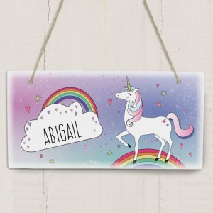 Personalised Wooden Sign - Unicorn