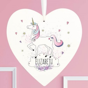 Personalised Large Wooden Heart Decoration - Unicorn