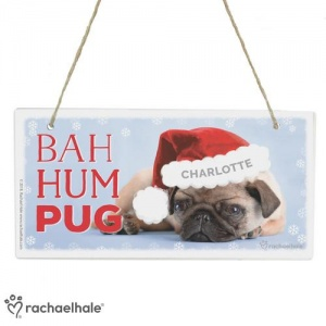 Personalised Christmas Wooden Sign - Bah Hum Pug