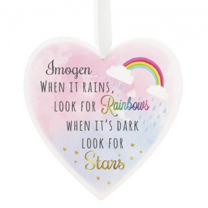 Personalised Large Wooden Heart Decoration - Rainbows & Stars