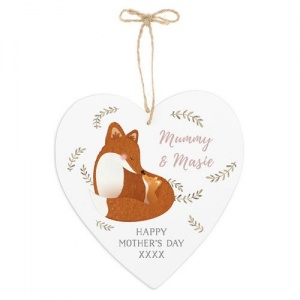 Personalised Large Wooden Heart Decoration - Mummy & Me Fox
