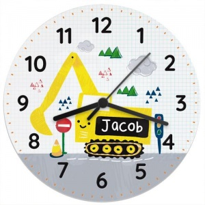 Personalised Wooden Clock - Digger