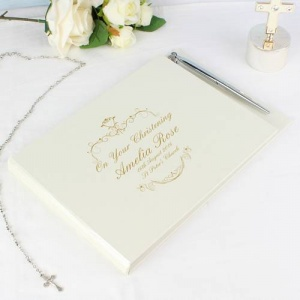Personalised Guest Book with Pen - Gold Ornate Swirl