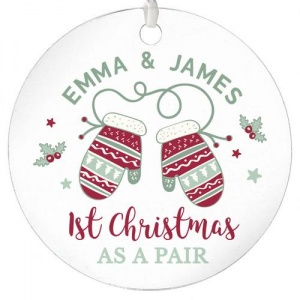 Personalised Round Acrylic Decoration - 1st Christmas as a Pair