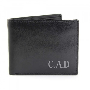 Personalised Black Leather Wallet - Big Initials