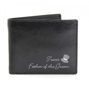 Personalised Black Leather Wallet - Top Hat