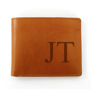 Personalised Brown Leather Wallet - Big Initials