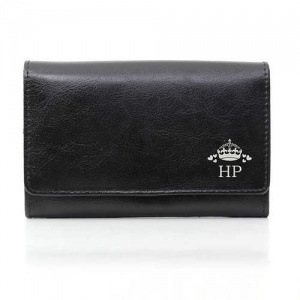 Personalised Black Leather Purse - Crown