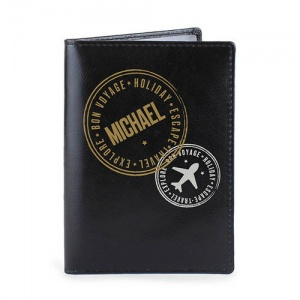 Personalised Leather Passport Holder - Stamped