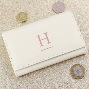 Personalised Cream Leather Purse - Initial
