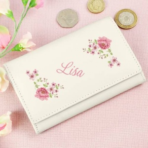 Personalised Cream Leather Purse - Floral