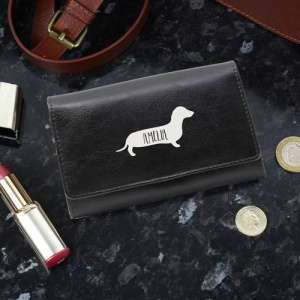 Personalised Black Leather Purse - Sausage Dog