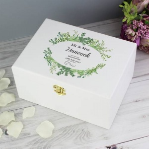 Personalised White Wooden Keepsake Box - Fresh Botanical