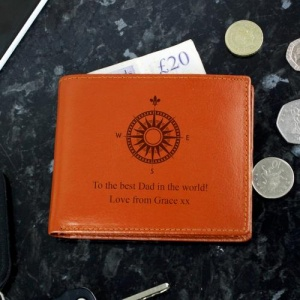 Personalised Tan Leather Wallet - Compass