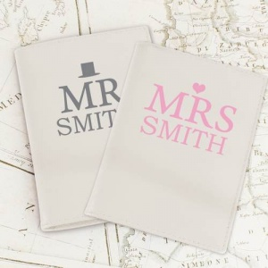 Personalised Cream Leather Passport Holders - Mr & Mrs Top Hat