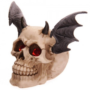 Bat Wing Horned Skull with Red Gem Eyes