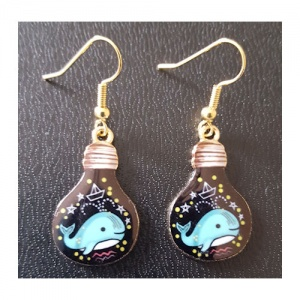 Enamelled Light Bulb Shaped Earrings - Blue Whale