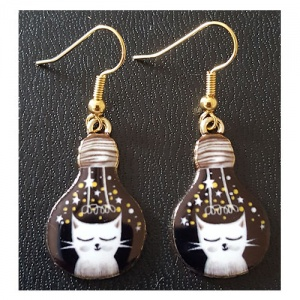 Enamelled Light Bulb Shaped Earrings - White Cat