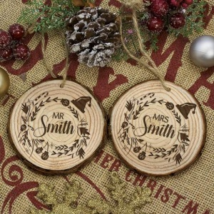 Personalised Couple's Christmas Tree Decoration - Set of 2