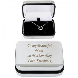 Sterling Silver Heart Necklace with Personalised Box
