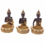 Gold & Brown Thai Buddha Tealight Holders with Glass Mosaic Detail