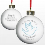 Personalised In Loving Memory Dove Bauble