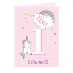 Personalised Greetings Card - Baby Unicorn Birthday Age