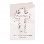 Personalised Floral In Loving Memory Cross Card
