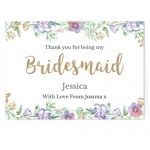 Personalised Card - Bridesmaid Floral Watercolour Wedding