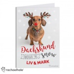 Personalised Rachael Hale Christmas Card - Dachshund Through the Snow