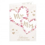 Personalised Card - Mr & Mrs Confetti Hearts Wedding