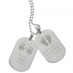 Personalised Stainless Steel Double Dog Tag Necklace - New Baby