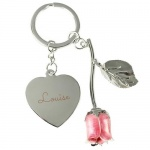 Personalised Silver Plated Pink Rose Keyring - Name