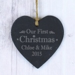 Personalised Slate Heart - Our First Christmas