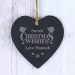Personalised Slate Heart - Christmas Wishes