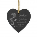 Personalised Slate Heart Decoration - Rose