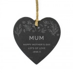 Personalised Small Slate Heart Decoration - Floral