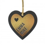 Personalised Gold Printed Slate Heart Decoration - Couples