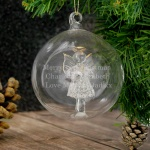 Personalised Christmas Angel Glass Bauble