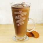 Personalised Latte Glass - Heart Banner