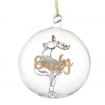 Personalised Glass Bauble - Gold Glitter Reindeer