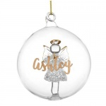 Personalised Angel Glass Bauble - Gold Glitter Name Only