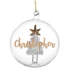 Personalised Tree Glass Bauble - Gold Glitter Name Only
