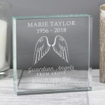 Personalised Crystal Token - Guardian Angel Wings