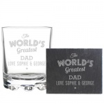 Personalised Whisky Tumbler & Slate Coaster Set - The Worlds Greatest