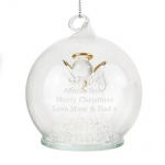 Personalised LED Glass Bauble - Christmas Message Angel