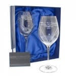 Hand Cut Heart Wine Glasses with Swarovski Elements