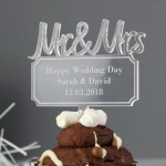 Personalised Acrylic Cake Topper - Mr & Mrs Plaque