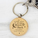 Personalised Wooden Keyring - Moon & Back